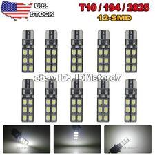 10x White Canbus Error Free Car T10 LED 12-SMD Wedge Light Bulb W5W 168 194 2825