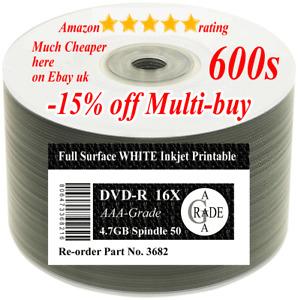 600 (12 x 50) Ritek-F1-OEM DVD-R 4.7GB 16X Inkjet Printable Full-face PiDATA--