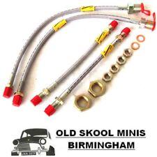 Clásico Mini Goodridge Trenzada 4-LINE Kit Latiguillos de Freno Delante Batería