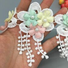 5X Fabric Flowers Rose Trim Pearl Embroidered Lace Wedding Dress Ribbon Applique