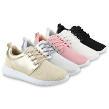 Damen Runners Sportschuhe Glitzer Metallic Laufschuhe Sneakers 814457 Schuhe