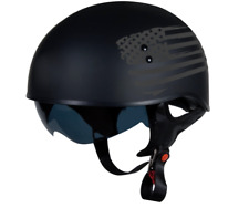 TORC T55 1/2 Half shell Motorcycle Helmet Drop Down Sun Visor Black Flag M11