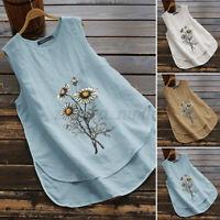 ZANZEA Women Summer Sleeveless O-Neck Tops Shirt Casual Holiday Beach Blouse NEW
