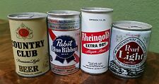 Pabst Country Club Rheingold Pearl  Pull Tab Beer Can 4 Can Set 8oz & 7oz NICE