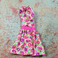 Vintage Barbie Doll Size Clothes White Pink Flowers Wrap Bust Summer Dress Party