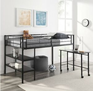 Twin Metal Loft Bed with Desk and Shelving