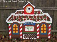 Christmas Gingerbread Train Station Wood Outdoor Village Piece Yard Decor