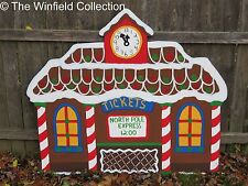 Christmas Gingerbread Train Station Wood Outdoor Village Piece Yard Decor