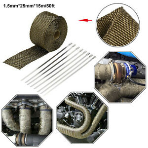 50ft Titanium Golden Automobile Exhaust Pipe Heat Warp +8pc Stainless Ties Kit