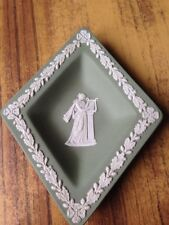 Wedgwood Sage Green Diamond Shape Pin/Trinket Dish Lyre Scene Good Condition