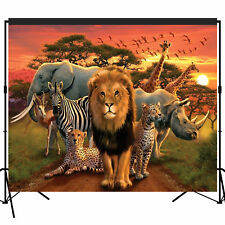 Jungle Animal Backdrop Banner Photography Scene Setters Photobooth Props 7x6 ft