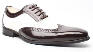 Herren Schuhe, Al Capone, Mafia, braun weiss, Lack, sehr extravagant