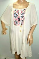 Live and Let Live One World Womens Plus Size 1x 2x Boho Ivory Tunic Top Blouse