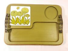 Georges Briard Green Wooden Serving Tray Ceramic Gilt Flower Butterfly Tile Mcm