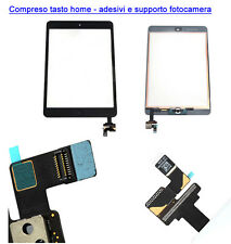 TOUCH SCREEN VETRO IPAD MINI 2 A1489 A1490 A1491 TASTO HOME  + IC + ADESIVI NERO