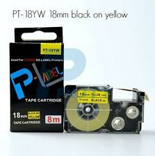 Casio XR-18YW Compatible Black on Yellow 18mm 8m Label Tape KL100 KL120 XR-18YW1
