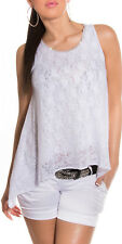WHITE LACE COTTON top SIZE 10 12 14 LOOSE FLOWING COOL ELEGANT BLING LACE