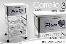 CARRELLO CUCINA H85x47x37 PANE BIANCO CUORE 3 CESTINI 1 CASSETTO RUOTE TDG675591