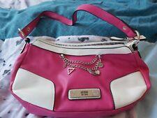 Guess Handbag Shoulder Bag Pink And White Leather Glam Bling Designer