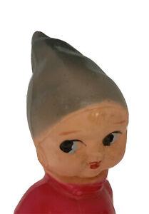 "6 1/2"" Kid in Coat Pointy Hat Fleur de Lis Royal Celluloid Doll Vntg Toy Rattle"