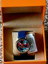 Tory Burch Embroidered Colorful Face Watch with Navy Blue Leather Band NIB