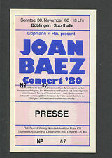 1980 Joan Baez Unused Full Concert Ticket Boblingen Germany Diamonds And Rust