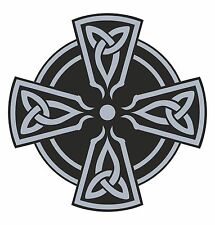 CELTIC CROSS STICKER Grey RELIGIOUS For CAR Motorcycle Bike Helmet Guitar Tablet