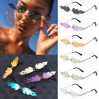 Eyewear Trending Fashion Sunglasses Wave Sun Glasses Fire Flame Rimless