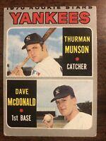 1970 Topps Thurman Munson Rookie Card #189 New York Yankees Dave McDonald