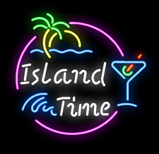 """New Island Time Man Cave Logo Beer Neon Sign 17""""x14"""""""