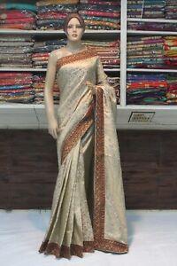 Indian Jute Silk Ethnic Contrast Border Saree Bollywood Sari Bridal Party Dress