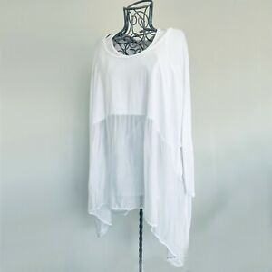 White Stretch Floaty Double Top with Silk Lower Section three-quarter sleeves