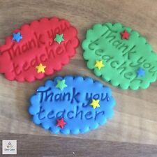 6 Thank You Teacher Gifts Edible Plaques Sugar Cupcake Cake Toppers Decorations