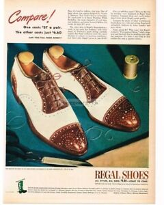 1946 REGAL Shoes Men's Brown & White Wing-Tips Vintage Print Ad