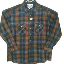NWT HIMALAYA 2XLT Blue Plaid Long Sleeve Button Front Shirt