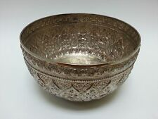 Traditional Songkran Thai Water Festival .900+ Fine Silver Repousse Bowl 365gr