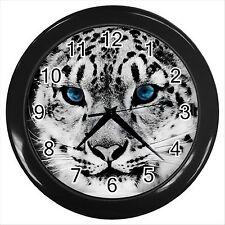 Nouveau * Hot Snow leopard noir Horloge murale Décor Cadeau