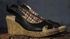 Crocs Leigh Slingback Cork Wedge Open Toe Black Leather Sandals Heels W6 11848 A
