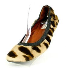 LANVIN Leopard Print Pony Fur & Black Leather Elastic Ballet Flats 41