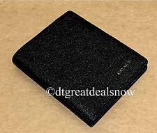 NEW Coach Men's Slim Grain Caviar Leather Bifold Black Billfold Wallet 66833