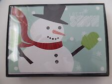 """18 Holiday Greeting Cards Snowman """"Let It Snow"""" Inside """"Warm Christmas Wishes"""""""