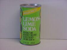 Hillcrest Lemon Lime Soda Straight Steel Pull Tab Top Opened Pop Can Kroeger