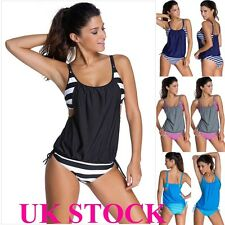 Women Striped Tankini Padded Bikini Set Push-up Swimsuit Suit Bathing Swimwear