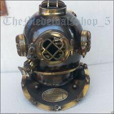 Vintage U.S Navy Mark V Brass Morse Diving Divers Helmet Solid Full Size 18''