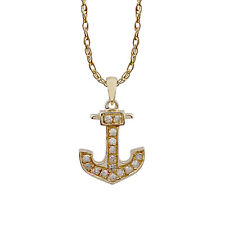 Yellow Gold 1/10ct Anchor Diamond Pendant Necklace (G-H, I1-I2)