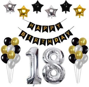 18th Birthday Decorations for Boys Men, 18th Birthday Balloons Girls Happy Black