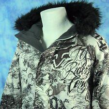 FOX Mens L Snowboarding Ski Jacket Black White Graffiti Hooded Long Winter Coat
