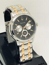 Bulova 98C115 Black Dial Two Tone Tose Gold Silver Strap Men's Watch (160E)