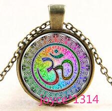 Om Pendant , Om Symbol Necklace , Namaste Yoga Jewelry ,Bronze #571