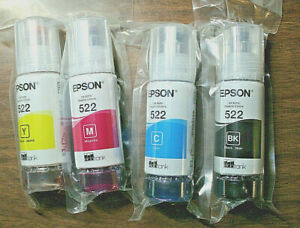 Genuine Epson 522 Ink 4  Bottle Set  WORKS w/ALL ECO-TANK printers using 522